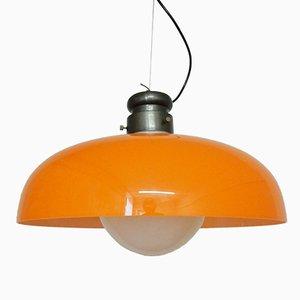 Lampada a sospensione arancione di Gino Vistosi per Vistosi, anni '70