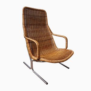 Mid-Century Rattan Lounge Chair by Dirk van Sliedregt for Jonkers