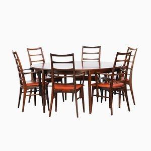 Mesa danesa vintage de palisandro con 6 sillas de Niels Koefoed
