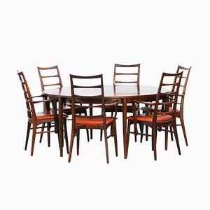 Vintage Danish Rosewood Table and 6 Chairs by Niels Koefoed