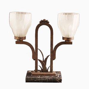 Lámpara de mesa Art Déco vintage de mármol y hierro forjado
