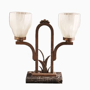 Vintage Art Deco Marble & Wrought Iron Table Lamp