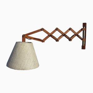 Lámpara de pared danesa telescópica de teca, años 50