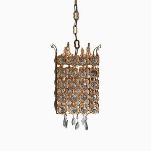 Antike Deckenlampe aus Bronze & Kristallglas