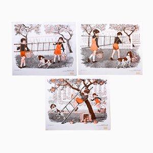 Stampe raffiguranti la raccolta della frutta, 1972, set di 3