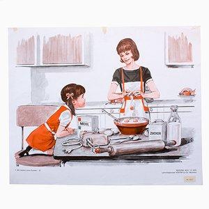 Póster que ilustra la primera parte sobre cómo hornear un pastel, 1972