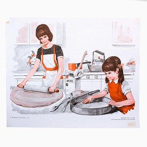 Póster que ilustra la segunda parte sobre cómo hornear un pastel, 1972