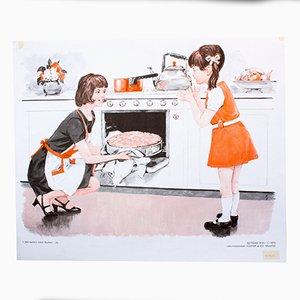 Póster que ilustra la tercera parte sobre cómo hornear un pastel, 1972