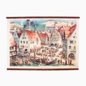 Póster educativo de una ciudad medieval, 1932
