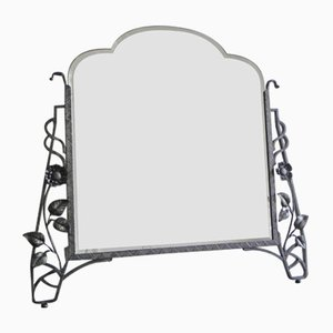 Art Deco Mirror with Faceted Glass in a Steel Frame