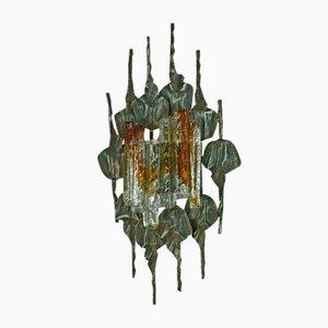 Aplique / lámpara de pared brutalista grande de cristal de Murano y hierro