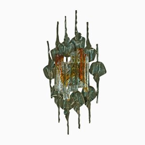 Large Brutalist Iron & Ice Murano Glass Sconce / Wall Lamp, 1960s