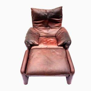 Chaise 675 Vintage avec Ottoman par Vico Magistretti pour Cassina Maralunga