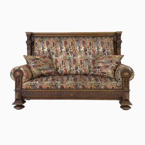 Antique French Renaissance Revival Carved High Back Bench, 1880s