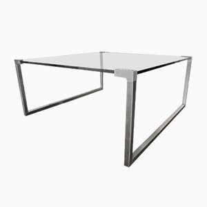 Vintage Steel and Glass Coffee Table by Peter Ghyczy, 1970s