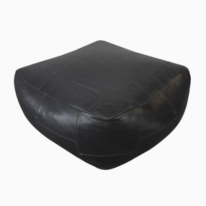 Vintage Black Leather Patchwork Ottoman from de Sede, 1970s
