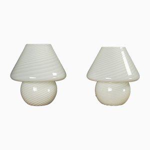 Murano Glas Mushroom Tischlampen, 1970er, 2er Set