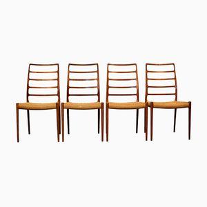 Chaises de Salon Modèle 82 Vintage en Teck par Niels O. Møller pour J.L. Møllers, Set de 4