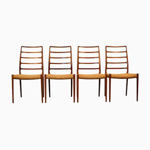 Vintage Model 82 Teak Dining Chairs by Niels O. Møller for J.L. Møllers, Set of 4
