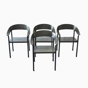 Chaises de Salon Vintage en Cuir Noir & Métal Laqué Noir, Set de 4