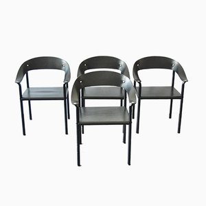 Vintage Esszimmerstühle aus Schwarzem Leder & Schwarz Lackiertem Metall, 4er Set