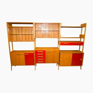 Mid-Century Modern Beech Unit Shelf System by F.jirak for Tatra