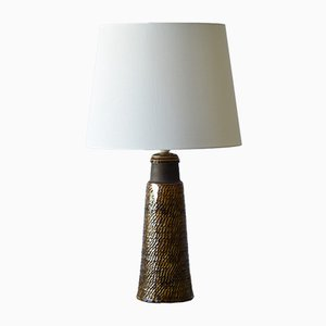 Tall Danish Ceramic Table Lamp with Amber Glaze by Nils Kähler for HAK, 1960s