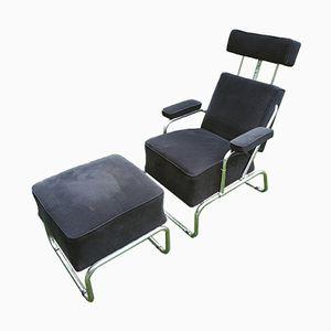 Chaise Longue Vintage Inclinable avec Ottomane