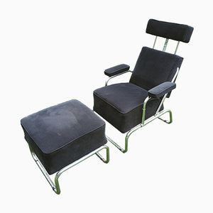 Vintage Reclining Lounge Chair with Ottoman