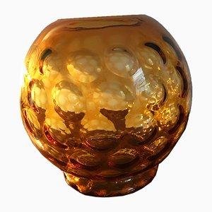Goldene Vintage Glasvase von Borske Sklo
