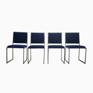 Chaises en Laiton & Chrome par Willy Rizzo, 1970s, Set de 4