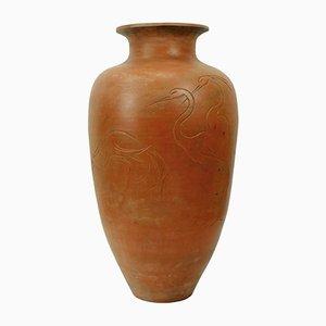 Große Keramik Vase mit Fischreiher Motiv, 1950er