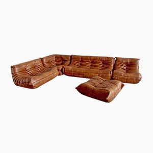 Vintage Coniac Leather Togo Living Room Set by Michel Ducaroy for Ligne Roset