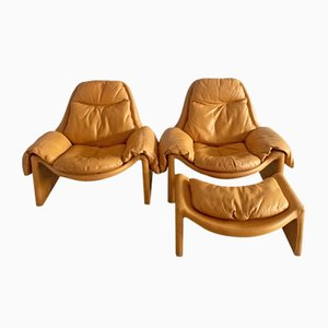 P60 Lounge Chairs with Ottoman by Vittorio Introini for Saporiti, 1960s, Set of 2