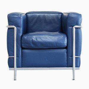 Poltrona modello LC2 vintage in pelle blu di Le Corbusier per Cassina