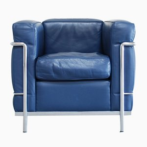 Vintage Blue Model LC2 Leather Chair by Le Corbusier for Cassina