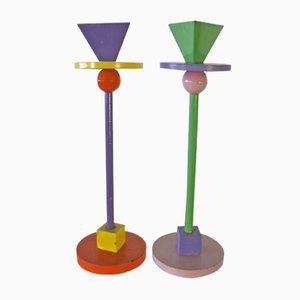 Enameled Iron Memphis Candlesticks, 1980s, Set of 2