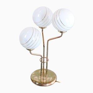 Lampe de Bureau Vintage en Laiton avec Globes en Verre
