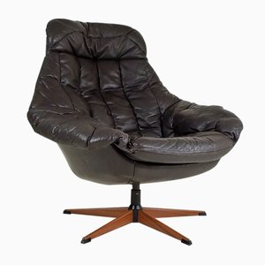 Vintage Brown Leather Armchair by H.W. Klein for Bramin