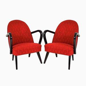 Rote Polnische Sessel, 1960er, 2er Set