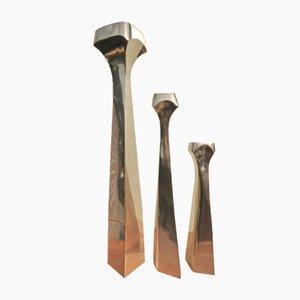 Grands Bougeoirs Brutalists en Bronze Poli, Set de 3