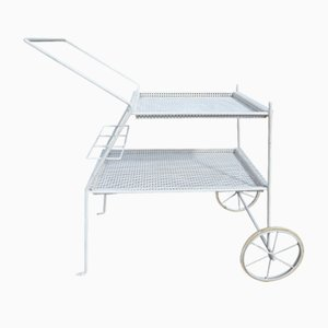 French Perforated White Metal Bar Trolley, 1950s