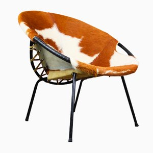 Cowhide Balloon Chair by Hans Olsen, 1950s