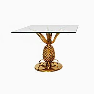 French Regency Pineapple Brass Side Table, 1970s