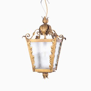 Vintage Lantern in Gilded Metal & Glass