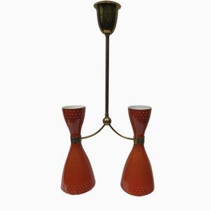 Lámpara colgante diabolo de latón y aluminio en naranja y marrón, años 50