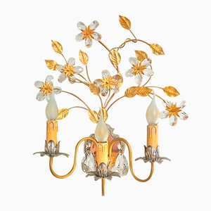 Vintage Italian Gold & Silver Colored Wall Light with Crystal Flowers