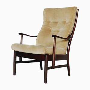 Chaise à Haut Dossier Jaune, Danemark, 1960s