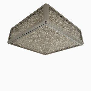 Lampada da soffitto vintage in metallo cromato e plastica