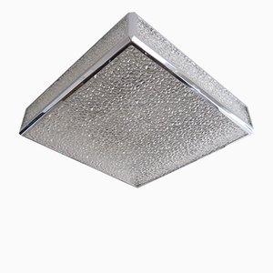 Lámpara de techo belga vintage con láminas de plástico sobre una estructura de metal cromado